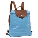 Longchamp 經典高彩度可摺疊水餃包 後背包/天藍