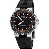 Oris豪利時 Aquis 時間之海潛水機械錶-黑x橘秒針/43mm 0173376534128-0742634EB