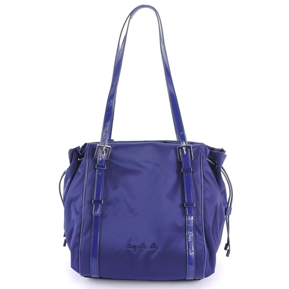 agnes b. 琺瑯扣飾束帶三層肩背包(小/紫)