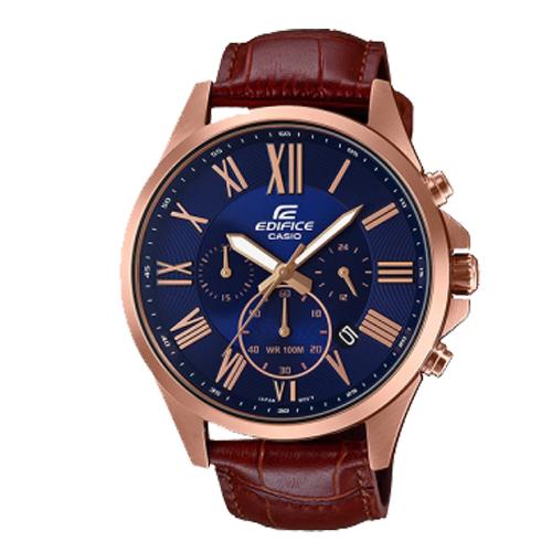 CASIO 卡西歐 EDIFICE 真皮錶帶三眼指針男錶 EFV-500GL-2A