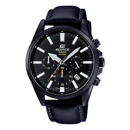 CASIO 卡西歐 EDIFICE 全黑時尚設計 三眼計時 石英皮革男錶 EFV-510BL-1A -friDay購物