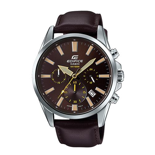CASIO 卡西歐 EDIFICE 經典三眼時計 大錶面 皮革石英男錶 EFV-510L-5A