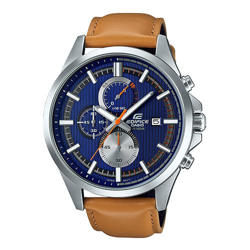 CASIO 卡西歐 EDIFICE 皮革錶帶三眼男錶 EFV-520L-2A