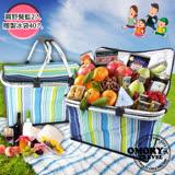 【OMORY】保冰/保溫摺疊野餐提籃-2入組(贈自動密封製冰袋40入)