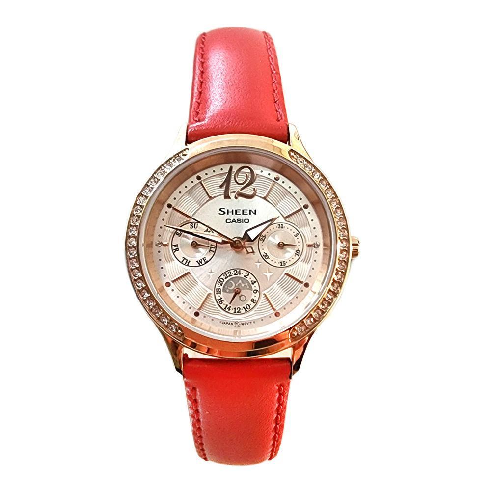 CASIO 卡西歐 SHEEN 氣質優雅 皮革錶帶指針女錶 SHE-3030GL-9A