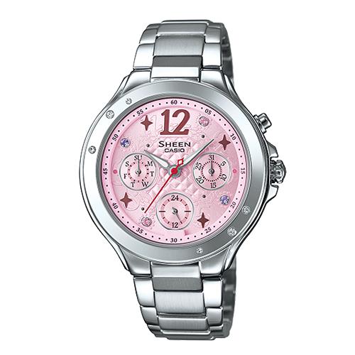 CASIO 卡西歐 SHEEN 甜蜜浪漫-施華洛世奇晶鑽淑女錶 SHE-3032D-4A