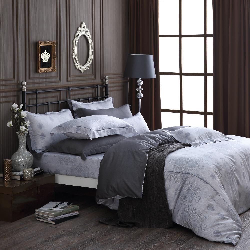 OLIVIA 《 Alexander 銀灰 》 標準雙人床包歐式繡線枕套組 棉天絲系列 全程台灣生產製作
