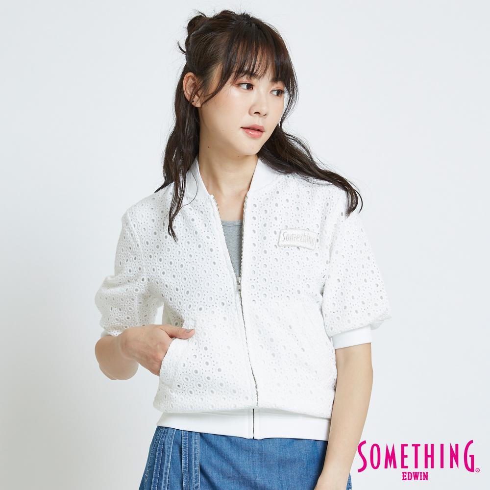 SOMETHING 簍空蕾絲外套-女-白色