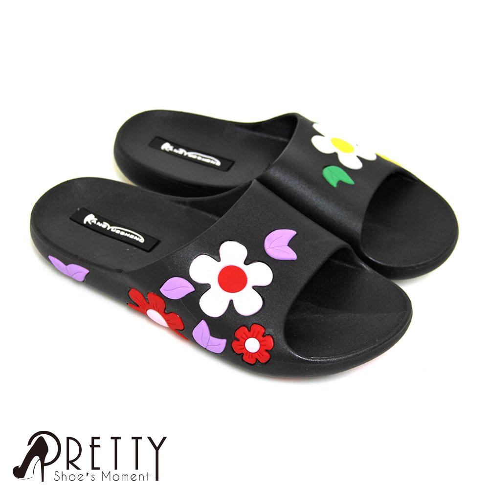【Pretty】獨特滿版亮彩花朵萬用防水拖鞋