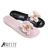 【Pretty】柔美立體水鑽捲捲蝴蝶結透視感防水拖鞋