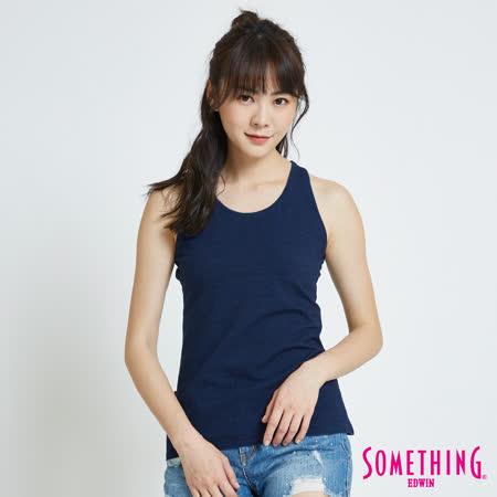 SOMETHING 休閒合身背心-女-中古藍