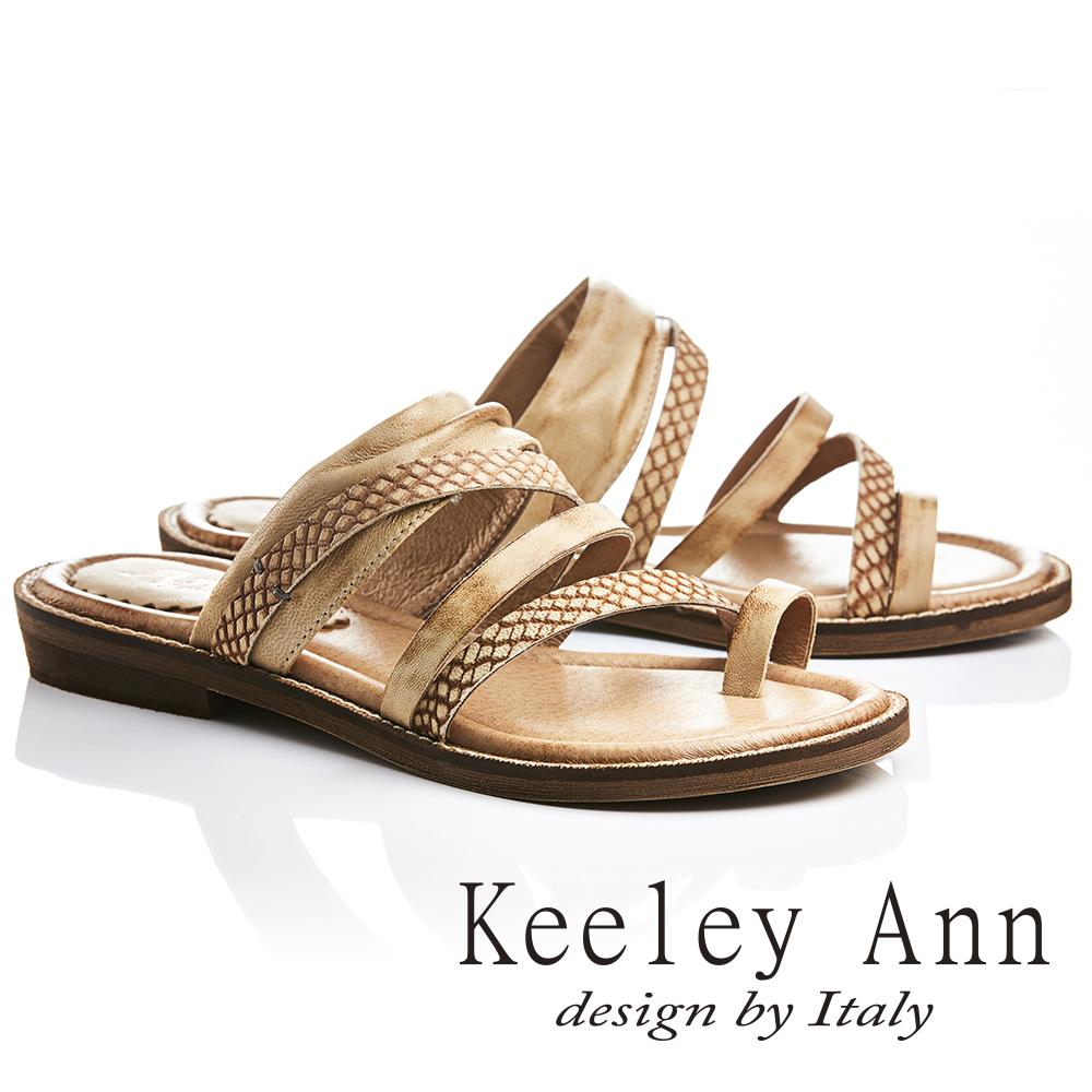 Keeley Ann 民族風質感紋路仿舊擦色全真皮平底拖鞋(土黃色721137124-Ann系列)