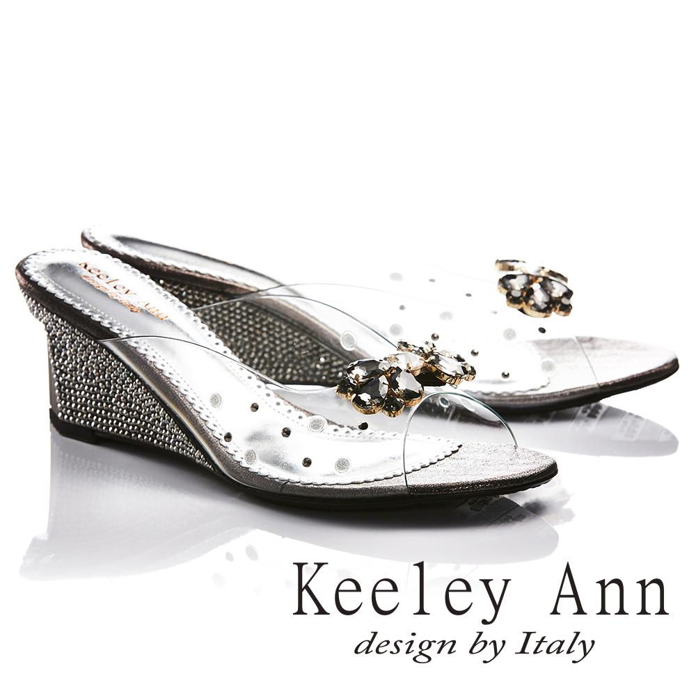 Keeley Ann高貴奢華~性感透視風水滴鑲鑽金屬飾釦楔形拖鞋(鐵灰色731003182)