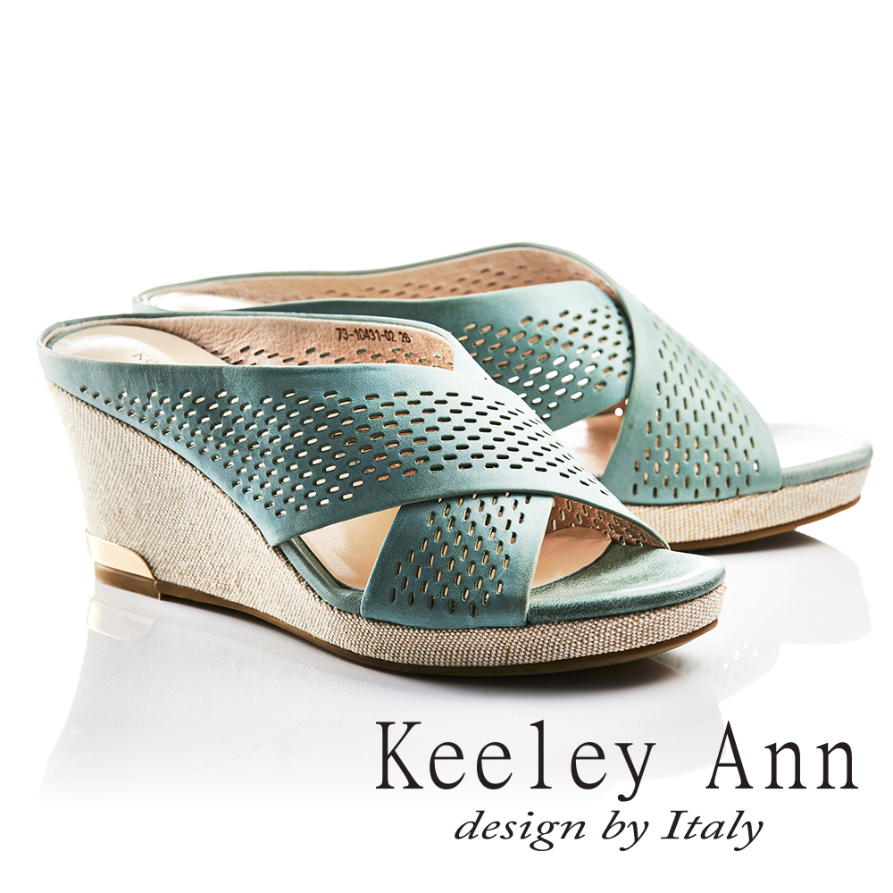 Keeley Ann歐美摩登~休閒度假交叉X字型鏤空全真皮楔形拖鞋(綠色731043102)