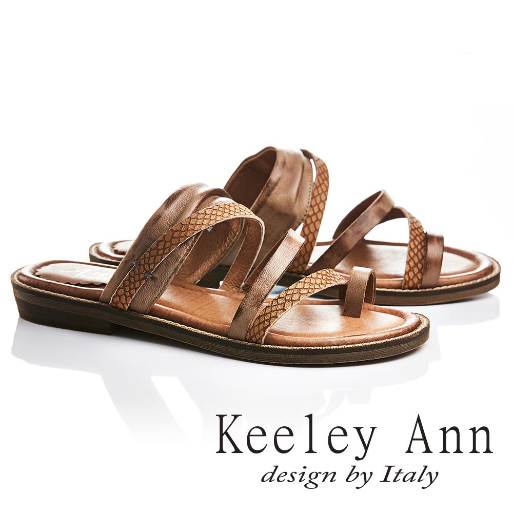 Keeley Ann 民族風質感紋路仿舊擦色全真皮平底拖鞋(棕色721137125-Ann系列)