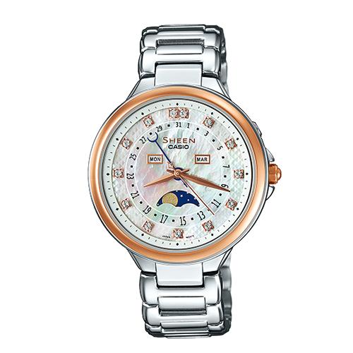 CASIO 卡西歐 SHEEN 日期月相顯示 氣質不鏽鋼女錶 SHE-3044SG-7A