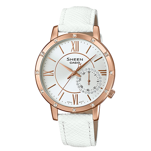 CASIO 卡西歐 SHEEN 低調奢華時尚晶鑽皮革女錶 SHE-3046GLP-7A