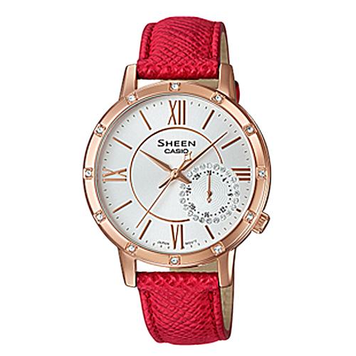 CASIO 卡西歐 SHEEN 低調奢華_時尚晶鑽皮革女錶 SHE-3046GLP-7B