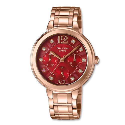 CASIO 卡西歐 SHEEN 玫瑰金不鏽鋼三眼晶鑽女錶 SHE-3048PG-4A