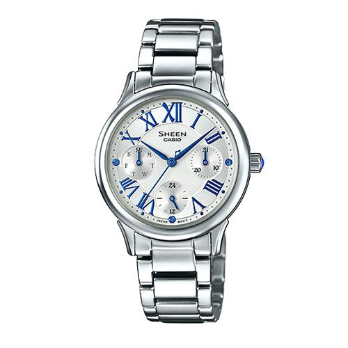 CASIO 卡西歐 SHEEN 不鏽鋼錶帶_三眼羅馬數字女錶 SHE-3049D-7A