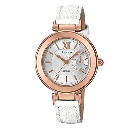 CASIO 卡西歐 SHEEN 皮革錶帶日期顯示指針女錶 SHE-3051LTD-7A