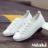 【Miaki】小白鞋韓妞休閒復刻洞洞綁帶平底包鞋 (白色)