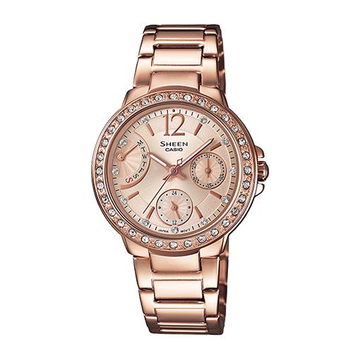 CASIO 卡西歐 SHEEN 施華洛世奇玫瑰金氣質典雅女錶 SHE-3805PG-9A