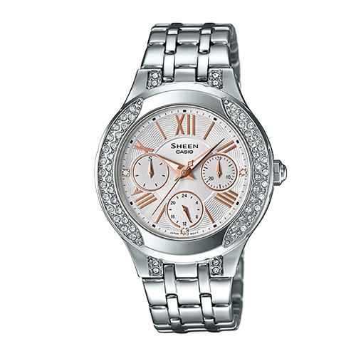 CASIO 卡西歐 SHEEN 施華洛世奇_不鏽鋼錶帶氣質女錶 SHE-3809D-7A