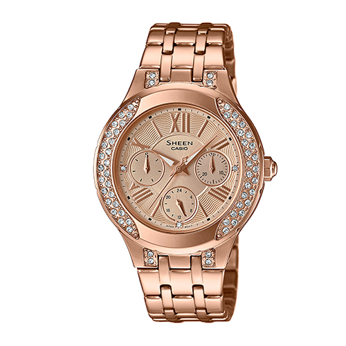 CASIO 卡西歐 SHEEN 施華洛世奇_粉紅金色離子鍍錶帶女錶 SHE-3809PG-9A