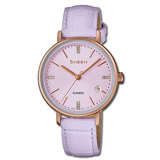 CASIO 卡西歐 SHEEN 馬卡龍紫色優雅施華洛世奇水晶皮革女錶 SHE-4048PGL-6A