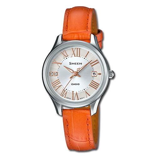 CASIO 卡西歐 SHEEN 施華洛世奇水晶_橘色皮革女錶 SHE-4050L-7A