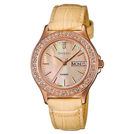 CASIO 卡西歐 SHEEN 真皮錶帶_礦物玻璃女錶 SHE-4800GL-9A