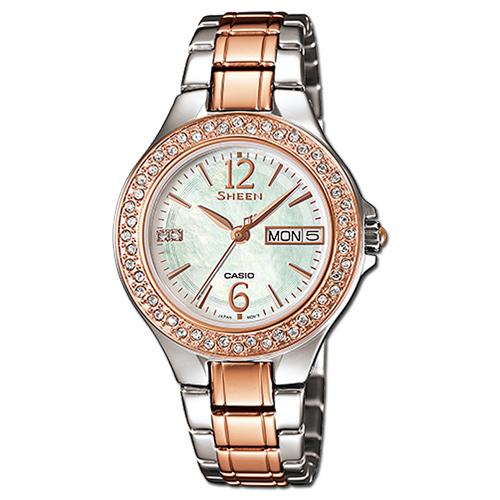 CASIO 卡西歐 SHEEN 日系經典款-玫瑰金_施華洛世奇晶鑽女錶 SHE-4800SG-7A