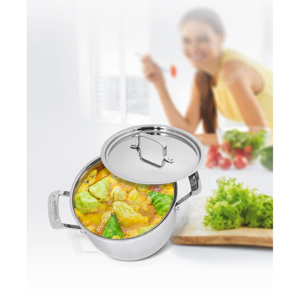 美國Cuisinart美膳雅 專業級不鏽鋼湯鍋4QT(3.8L/20cm) MCP44-20NTW