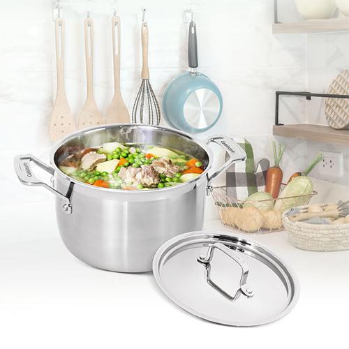美國Cuisinart美膳雅 專業級不鏽鋼湯鍋6QT(5.7L/24cm) MCP44-24NTW