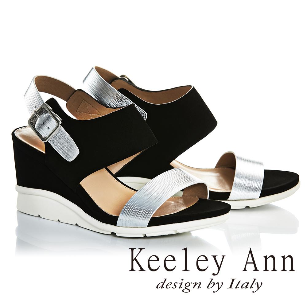 Keeley Ann韓式風潮~金屬質感真皮楔形高跟涼鞋(黑色722687210-Ann系列)