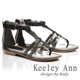 Keeley Ann騎士風格-古羅馬風情編織鉚釘全真皮平底夾腳涼鞋(黑色723137110-Ann系列)