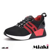 【Miaki】慢跑鞋韓星街頭潮流個性厚底綁帶包鞋 (紅色 / 黑色)
