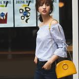 日本ANNA LUNA 預購-ViVi雜誌 雙蝴蝶結露肩條紋上衣(M-L)