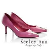 Keeley Ann摩登時尚~三角幾何造型飾釦真皮細高跟鞋(桃紅色725982153-Ann系列)