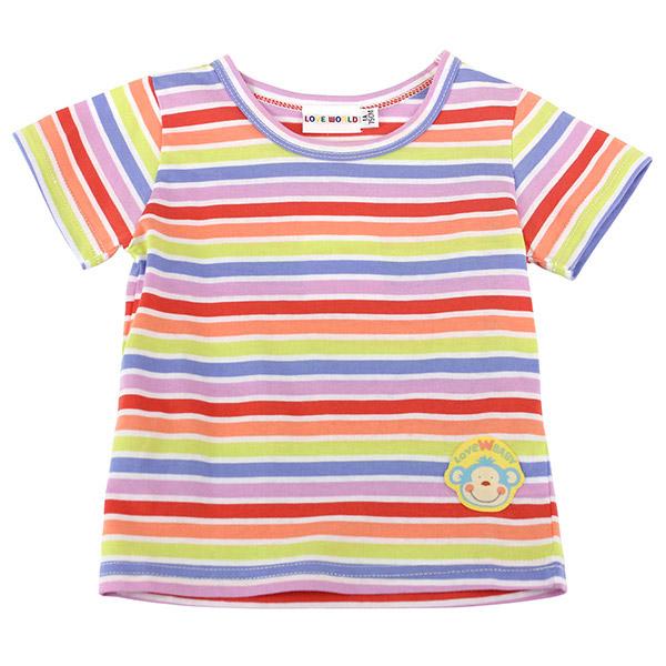 【愛的世界】SUPERMINI 春遊系列純棉繽紛橫紋短袖T恤/1~3歲/印花色-台灣製-