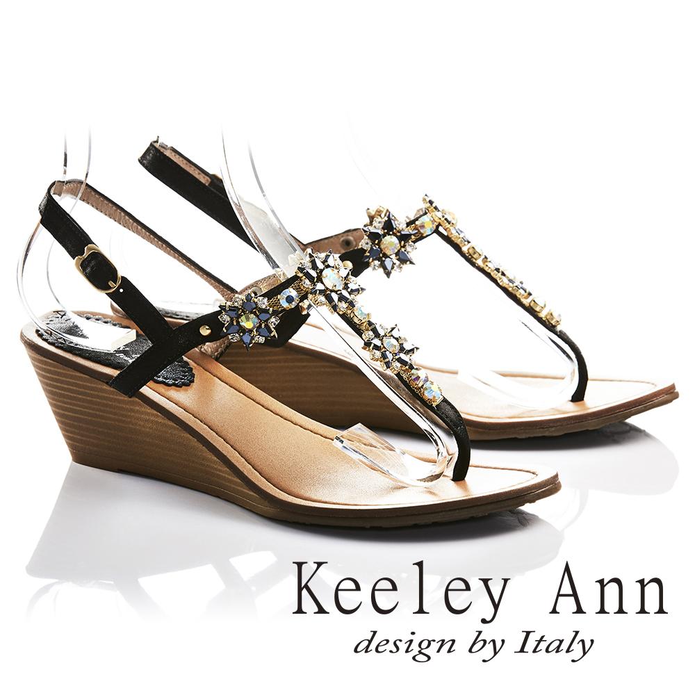 Keeley Ann閃耀時刻~太陽花朵芒刺鑲鑽全真皮楔形T字夾腳涼鞋(黑色732008310)