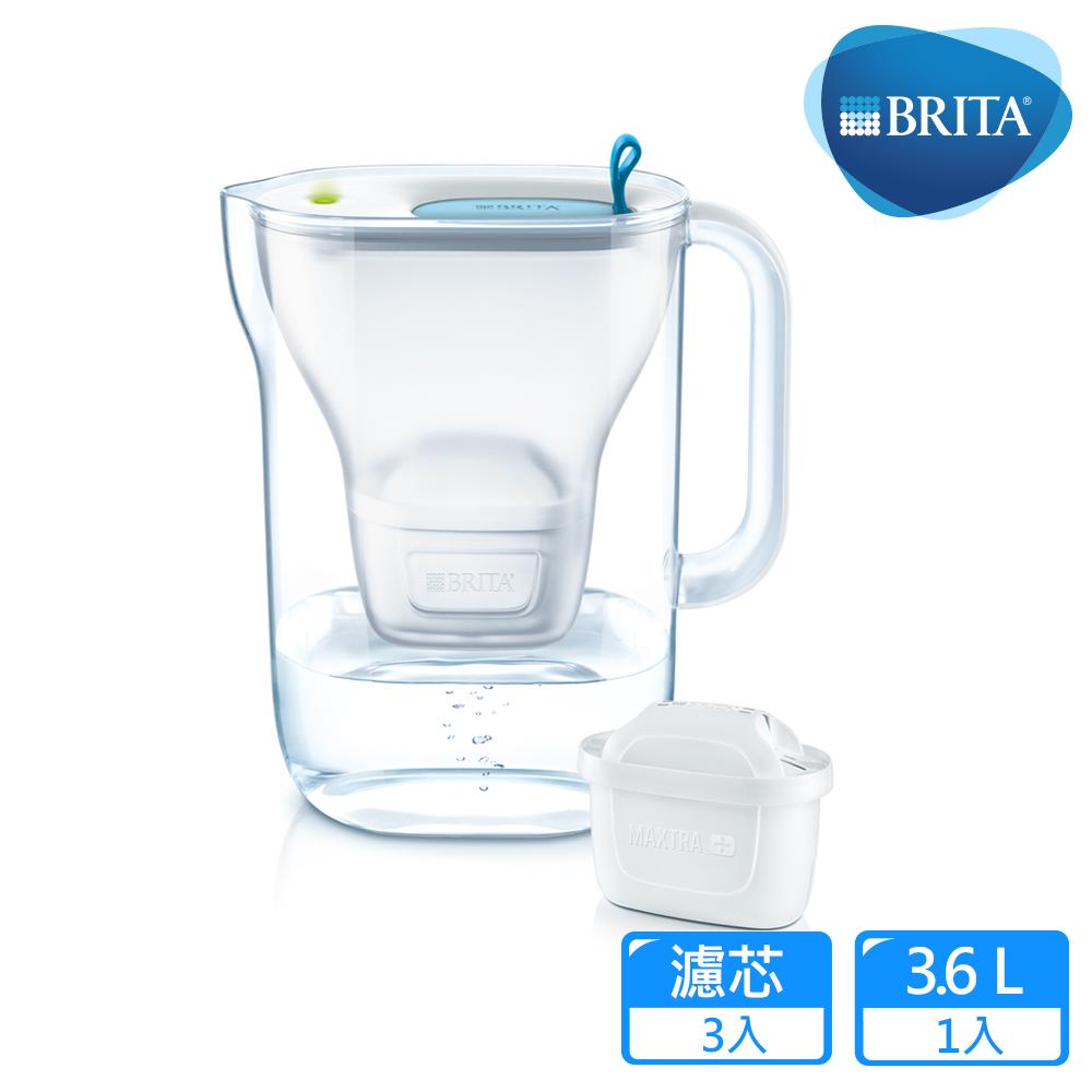 【德國BRITA】Style 3.6L純淨濾水壺+2入MAXTRA Plus濾芯_藍色(共3芯)
