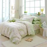 MONTAGUT-歐琪絲(綠)-200織紗精梳棉-鋪棉床罩組(雙人)