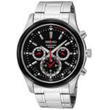 SEIKO精工三眼賽車時代三眼計時腕錶-黑/43mm 7T11-0BA0R(SRW003P1)