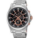 SEIKO Premier 經典羅馬 兩地時間鬧鈴腕錶-黑x玫瑰金時標/7T62-0JW0K(SNAF20J1)