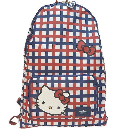 【波克貓哈日網】Hello kitty 凱蒂貓◇可摺疊收納設計◇《紅藍格後背包》
