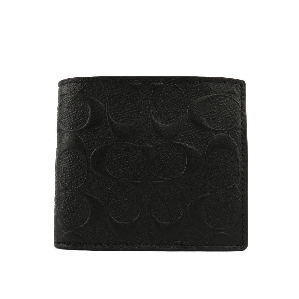 【COACH】C LOGO壓紋皮革零錢袋對開短夾(黑色)