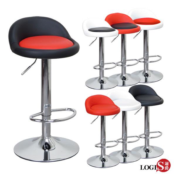 LOGIS邏爵~ 高卡咪腳圈吧台椅 高吧檯椅 工作椅 美容椅 休閒椅 美髮椅 旋轉椅7色
