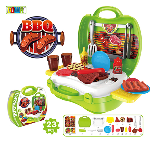 【17mall】多功能家家酒兒童玩具-仿真手提收納BBQ燒烤爐烤肉組